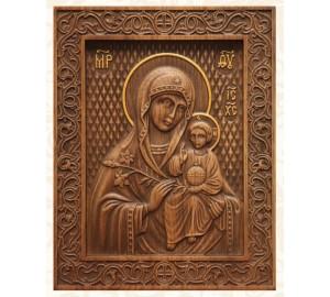 Икона Божьей Матери Неувядаемый Цвет - резная икона из натурального дерева (р-13)