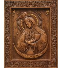 Икона Божьей Матери Остробрамская - резная икона из натурального дерева (р-18)