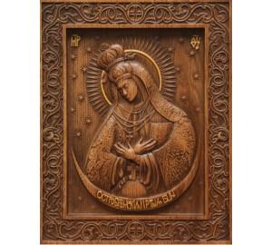 Ікона Божої Матері Остробрамської - різьблена ікона з натурального дерева (р-18)