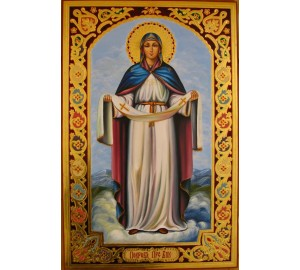 Икона Божьей Матери Покрова - писаная икона, сусальное золото (гр-42)