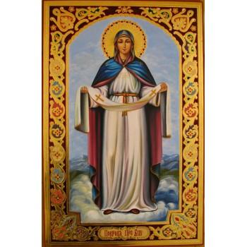 Ікона Божої Матері Покрови - ікона писана, сусальне золото (гр-42)