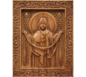 Ікона Божої Матері Покрови - різьблена ікона з натурального дерева (н-22)