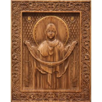 Икона Божьей Матери Покрова - резная икона из натурального дерева (р-22)