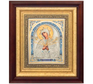 Ікона Божої Матері Семистрельная - красива ікона з сріблом та позолотою (k-15)