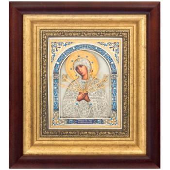 Икона Божьей Матери Семистрельная - красивая икона с серебром и позолотой (k-15)