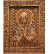 Икона Божьей Матери Семистрельная - резная икона из натурального дерева (р-17)