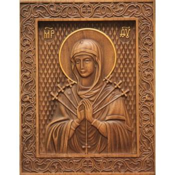 Ікона Божої Матері Семистрельная - різьблена ікона з натурального дерева (р-17)
