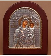 Ікона Божої Матері Скоропослушниця - Ікона арочної форми з сріблом та позолотою (GOLD)