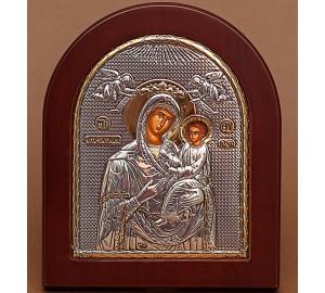 Икона Божьей Матери Скоропослушница - Икона арочной формы с серебром и позолотой (GOLD)