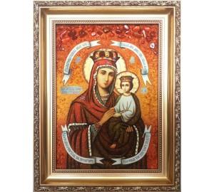 Икона Божьей Матери Споручница грешных - янтарная икона ручной работы (ар-246)