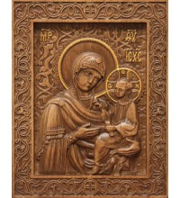 Ікона Божої Матері Тихвинської - різьблена ікона з натурального дерева (р-23)