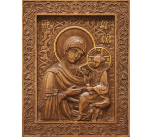 Икона Божьей Матери Тихвинская - резная икона из натурального дерева (р-23)