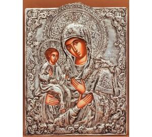 Ікона Божої Матері Троєручиця - Грецька ікона в срібному окладі (PA-72)