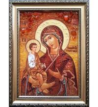 Икона Божьей Матери Троеручица - икона из янтаря (ар-282)