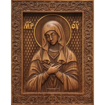 Икона Божьей Матери Умиление - красивая резная икона из натурального дерева (р-14)