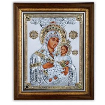 Икона Божьей Матери Вифлеемская под стеклом  инкрустирована увеличенным кол-вом кристаллов Сваровски