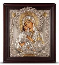 Икона Божьей Матери Владимирская - писаная икона, с серебром (хм-34/1)