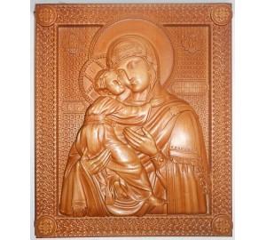 Икона Божьей Матери Владимирская - резная икона из натурального дерева (р-20/1)