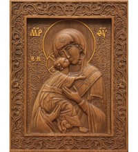 Икона Божьей Матери Владимирская - резная икона из натурального дерева (р-20)