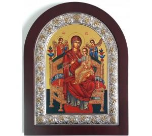 """Ікона Божої Матері """" Всецариця (Пантанасса) - ікона з Греції, з сріблом 20*25 см (EK305-104XAG)"""