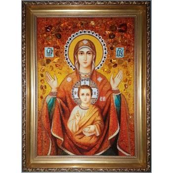Икона Божьей Матери Знамение - икона из янтаря (ар-306)