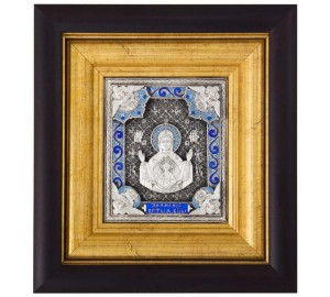Икона Божьей Матери Знамение - икона с серебром (k-05)