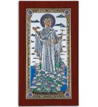 Ікона Афонської Божої Матері - Красива Ікона з Греції з сріблом та позолотою (CLASSIC)