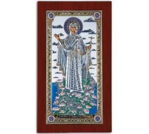 Икона Божией Матери Афонской - Красивая Икона из Греции с серебром и позолотой (CLASSIC)