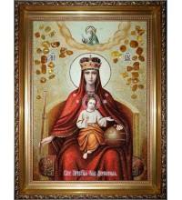 Ікона Божої Матері Державна - Ікона з бурштину ручної роботи (ар-327)