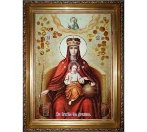 Икона Божией Матери Державная - Икона из янтаря, ручной работы (ар-327)