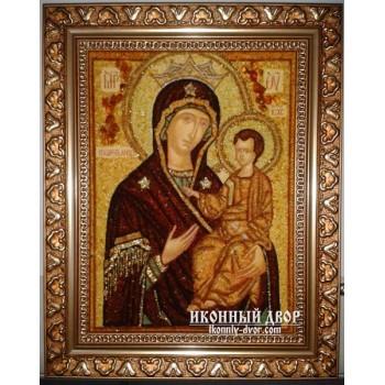 Икона Божией Матери «Избавительница» - икона ручной работа, из янтаря (ар-20)