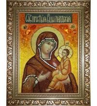 Икона Божией Матери Лиддская - икона из янтаря (ар-292)