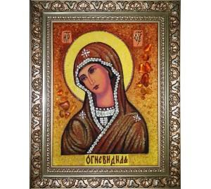 Икона Божией Матери Огневидная - икона из янтаря (ар-287)