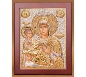 Ікона Божої Матері Троєручиця - розкішна ікона з Греції в дерев'яній рамці