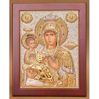 Икона Божией Матери Троеручица - роскошная икона из Греции в деревянной рамке