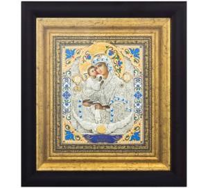 Икона Божья Матерь Почаевская - красивая икона с серебром (k-21)