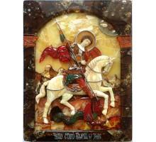 Икона Чудо святого Георгия о змие - Эксклюзивная икона из янтаря, с серебром (ГП-01)