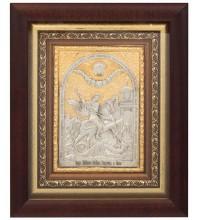 Икона Георгий Победоносец - икона на подарок, с серебром и позолотой (юл-31)