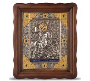 Икона Георгий Победоносец - красивая икона на подарок, с серебром и позолотой (Хм-62)