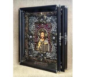 Икона Господь Вседержитель - достойная икона, серебро, позолота (Ос-ЛГк13)