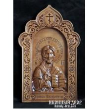 Ікона Господь Вседержитель - Різьблена ікона з дерева (300 х 192 Груша) (ДВ-2)