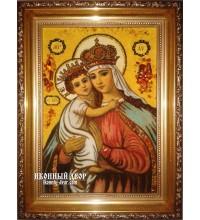Икона Иерусалимская Богородица - Икона из натурального янтаря (ар-15)