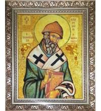 Икона из янтаря Святой Спиридон Тримифунтский  (ар-270)