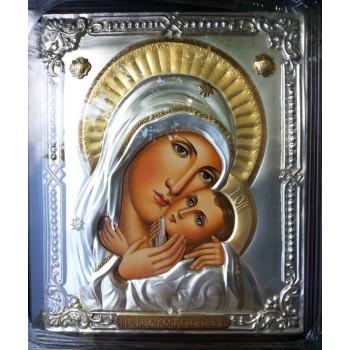 Ікона Касперівської Божої Матері - ікона писана в окладі з сріблом та позолотою (Хм-24/1)