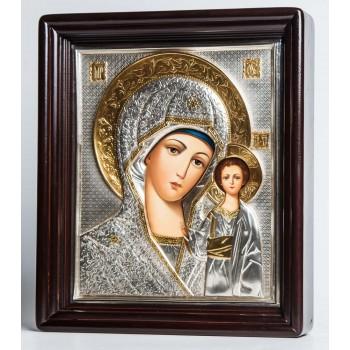 Икона Казанская Божья Матерь в окладе с серебром и позолотой, писаная икона (Хм-19)