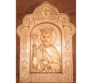 Икона Константин - резная икона из дерева (Р-30)