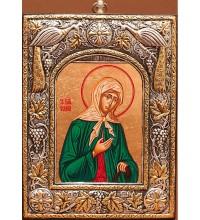Икона Ксения Петербургская, из чистого серебра - красивая греческая икона (24PSG)
