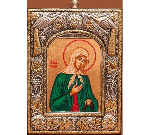 Ікона Ксенія Петербурзька, з чистого срібла - красива грецька ікона (24PSG)