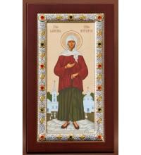 Икона Ксения Петербургская, с серебром - греческая икона (EK4049-245XAG)