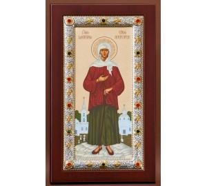 Ікона Ксенія Петербурзька, з сріблом - грецька ікона (EK4049-245XAG)